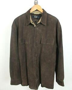 NAT NAST Brown Leather Suede Shirt Jacket Shacket Sz L Men's NICE