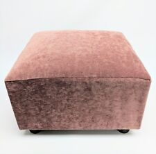 Footstool / Small Box Stool / Pouffe / Gift / Dusky Pink / Velvet British Made