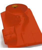 Men's Regular Fit Long Sleeve Solid Color One Pocket Casual Dress Shirt Rust