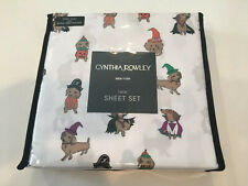 NIP Cynthia Rowley Twin Sheet Set Halloween NEW Dogs In Costumes Dachshunds