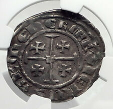 1324 CYPRUS Crusader Kingdom HUGH IV Antique Silver GROS Coin CROSS NGC i80406