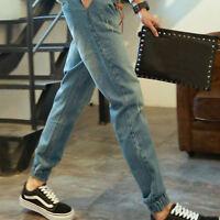 Jogger Pants Men Denim Drawstring Sweatpants Long Slim Trouser Casual Jean Hot