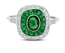 Emerald And Diamond Platinum Ring Art Deco Oval Baguette Cocktail Antique Finish