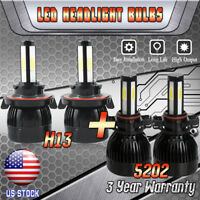 H13 + 5202 LED Headlight for 2007-2014 GMC Yukon XL 1500 2500 High Low Fog Bulbs