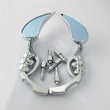 Motorcycle Chrome Skull Rearview Mirror Light Blue  For Harley Davidson Honda