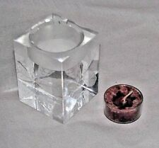 Oleg Cassini Crystal Tea Light Candle Votive Holder Leaves Hampton Cube Glass