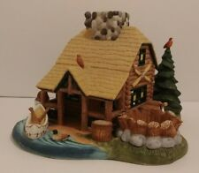 "PartyLite Ceramic ""Gone Fishing"" Log Cabin Lodge Tealight Candle Holder Euc"