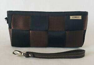 "Comely Seat Belt Black & Brown Clutch Purse Wristlet Accessory Bag 4"" x 9"""