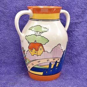 Wedgwood Clarice Cliff Bizarre Orange Roof Cottage Large 31cm Twin Handled Vase