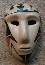 Handmade Painted Clay Native American Style Mask Art Black Red Wall Hanger
