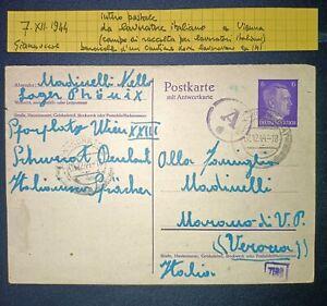 Intero Postale Postkarte da Italiano a Vienna per Verona Hitler WW2 07.XII.1944!