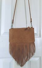 Free People Fringe Zip Up Purse Camel Tan Tassel Crossbody Bag Faux Leather
