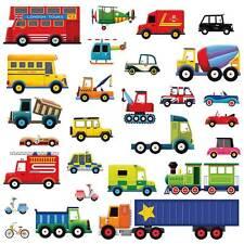Wandsticker Auto Wandtattoo Feuerwehr Transporter Autos Kinderzimmer Jungen