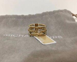 Michael Kors Gold-Tone Beaded Crystal Stack-Look Statement Ring 6, 7, 8  MKJ5528