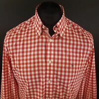 Tommy Hilfiger Mens Shirt MEDIUM Long Sleeve Red Custom Fit Check Cotton
