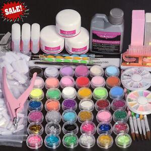 Acrylic Powder&Liquid 120ml Nail Art Starter Set Manicure Kit False Nail Tips+++