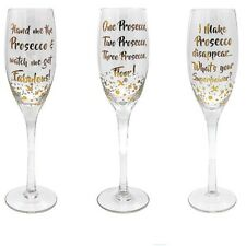 Set Of 3 X Gold Words Prosecco Flute Wine Glasses Individually Boxed LP40083
