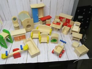 D Lot of Plan Toys Wooden Doll House Furniture 26 pieces