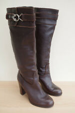 Nine West Leather Boots Size 6 W EU 39 Brown Knee High