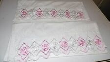 VINTAGE HANDCRAFTED EMBROIDERED FLORAL PINK WHITE PILLOWCASE SET