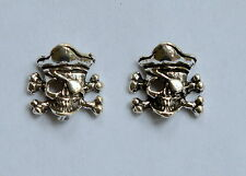 Pair Of Sterling Silver 925  Skull  And  Crossbones   Ear  Studs  !!    New  !!