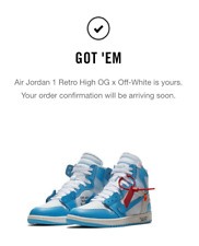 Off White Jordan 1 Retro High UNC 100% Authentic Mens Size 8.5 Women Size 10