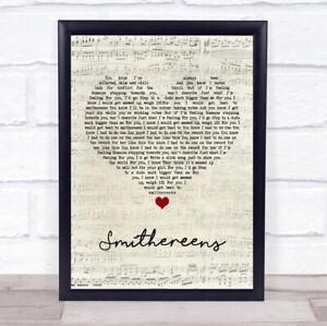 Smithereens Script Heart Song Lyric Print