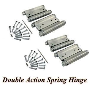 2Pairs 4inch Adjustable Double Action Spring Hinge Saloon Cafe Swing Door+Screws