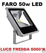 FARO FARETTO LED ULTRA-SLIM 50w IP66 LUCE FREDDA 6000K PER INTERNI E ESTERNI