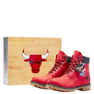"""Kids Timberland x NBA Chicago Bulls 6"""" Boots Red TB0A2952 Size 2 PS Free Ship !!"""