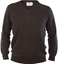 Gents Merino Wool Sweater V-Neck Jumper Plain Charcoal  Small