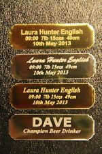 Personalised Name plate NAMEPLATE plaque engraved up to 3 lines 64x19 mm concave
