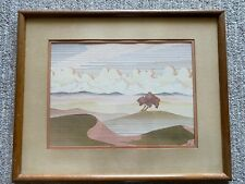 Linear Landscape In The Style Of Uzilevsky 1970s Signed Lithograph OP ART Retro