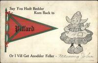 Piffard NY Dutch Comic Pennant Greeting c1910 Postcard jrf
