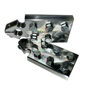 Pair ILL Customz 6 Spot Flat Lug Battery Terminal SAE Top Post Clamp