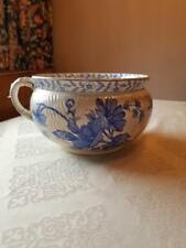 Antique 1887 English Ridgways Stoke on Trent Blue Floral Chester Chamber Pot