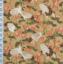 FQ CRANES TREES RED FLOWERS BEIGE MANDOLIN COLLECTION FAT QUARTER COTTON FABRIC