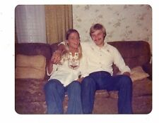 Vintage Photo Pretty Young Woman, Handsome Man, Couple On Couch, 1970's, Dec16