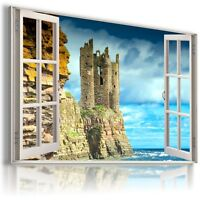 """ENGLAND, CASTLE 3D Window View Canvas Wall Art Picture Large SIZE 30X20"""" W454"""