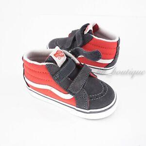 New Vans Sk8-Mid Reissue V 2-Tone Toddler Shoe Grenadine Periscope Grey Size 6.5