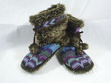 Steve Madden Knit Slipper Pom Poms Faux Fir Womens 5-6