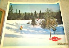 Vintage Large Grain Belt Beer Advertising Poster Sign Vintage Snowmobiles