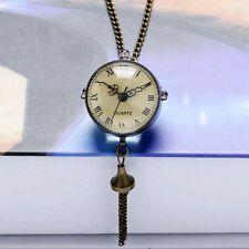 Glass Ball Bull Eye Bronze Quartz Big Pocket Watch Necklace Chain Gift P10