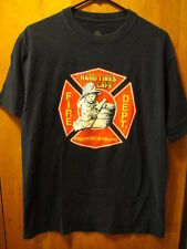 FIRE DEPT Fredericksburg VA HARD TIMES CAFE ~Keep Back 500 FT~ T Shirt MED Blue