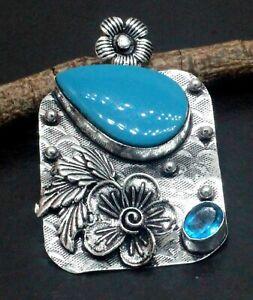 "925 Sterling Silver Chalcedony & Topaz Gemstone Jewelry Cross Pendant Size-2"""