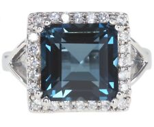 London Blue Topaz Gemstone 10mm Square Sterling Silver Ring UK Ring size L
