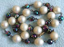 VINTAGE 1930 S Art Deco CARNIVAL Glass & Vetro Perla Perlina Dichiarazione Collana