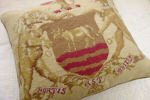 """18"""" Vintage Royal Crest Emblem Disguised Animals Needlepoint Throw Pillow Cover"""