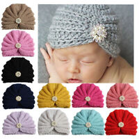 Baby Girls Rhinestone Hats Pearls Flower Knitted Hat Beanie Turban Warm Cap