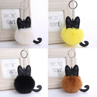 Artificial Fur Fluffy Cat Key Ring Keychain Jewelry Car Bag Hang Accessories